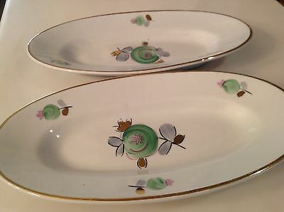 """2 lovely hand painted & signed oval European porcelain dishes 10 1/4 x 5 1/4"""""""
