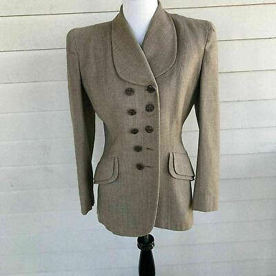 Vintage 1940 Sz SM Taupe Suit Jacket Double Breast Padded Shoulders Wasp Waist