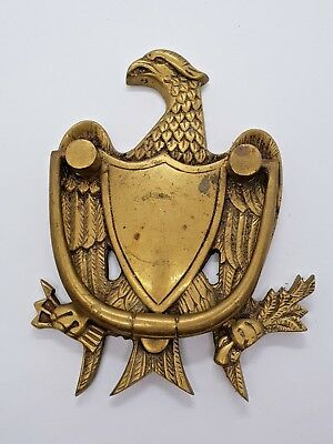 Original 100% Vintage 1930s Brass Federal American Eagle Shield Door Knocker 7""