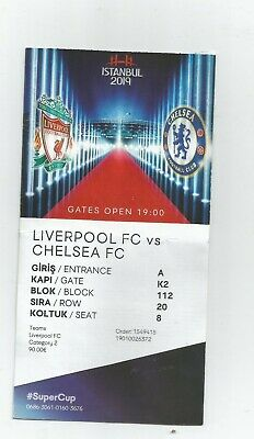 Liverpool Fc-Chelsea Fc European Super Cup Istanbul 2019 Used Ticket