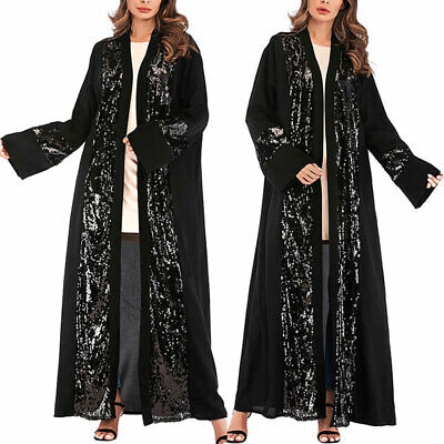 Womens Lady Muslim Dubai Style Sequin Lace Long Sleeve Casual Party Maxi Dress
