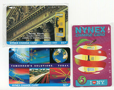 3 NYNEX change card vintage phone cards I Love NY $5 $2 1990s sealed  ID#2090