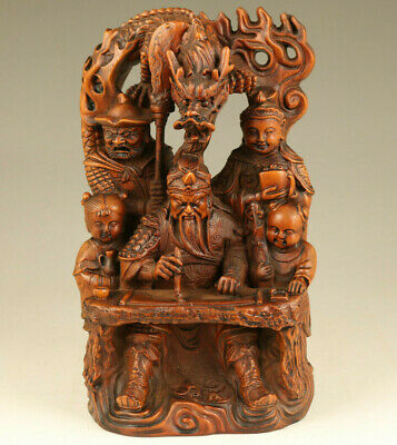 Chinese old boxwood Guangong write dragon statue figure table decoration