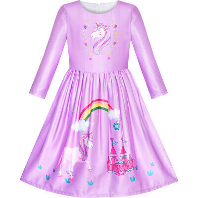 Girls Dress Long Sleeve Unicorn Castle Rainbow Purple Age 5-10 Years