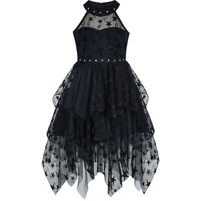 Girls Dress Black Halter Lace Star Tutu Dancing Party Age 6-12 Years