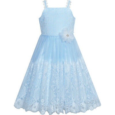 Flower Girls Dress Blue White Lace Wedding Party Bridesmaid Size 6-14 Pageant