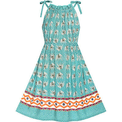 Girls Dress Blue Elephant Cotton Casual Summer Sundress Age 4-8 Years