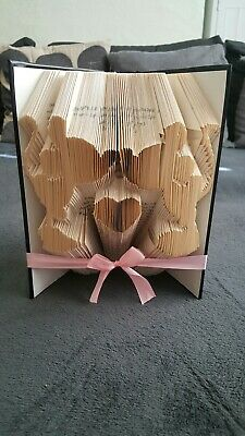 Folded Book Art. Mickey And Minnie Mouse With Heart Cute Love Wedding Anni Gift