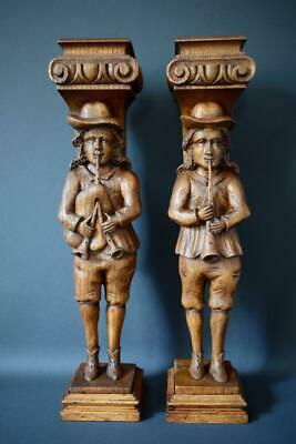 Carved Wood Figural Breton Musicians Supports Corbels Posts Pillars Columns