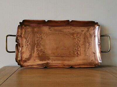 Art Nouveau Signed WMF copper tray with brass handles