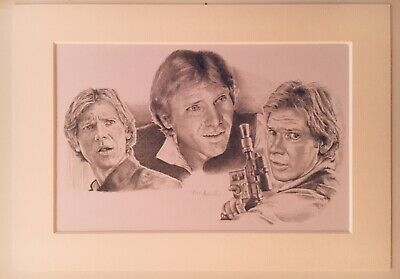 STAR WARS TRILOGY HAN SOLO (HARRISON FORD) Pencil Drawing Print Limited Edition