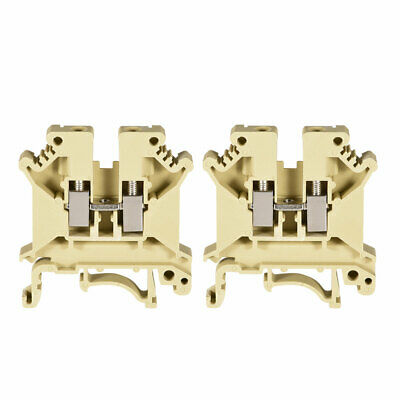 DIN Rail Terminal Block UK5N 800V 41A Screw Clamp Connector 0.2-4mm2 Yellow 2Pcs
