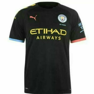 Puma Man City 19/20 Away Shirt SS - Puma Black/Georgia Peach UK M (AP796)