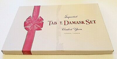 "Vintage NEW Imported Yellow Damask 52"" Tablecloth W/  4 14"" Napkins Original Box"
