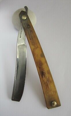 Vintage Straight Razor 1800 -1820 - REFINED STEEL - HUNTING SCALES - SHAVE READY