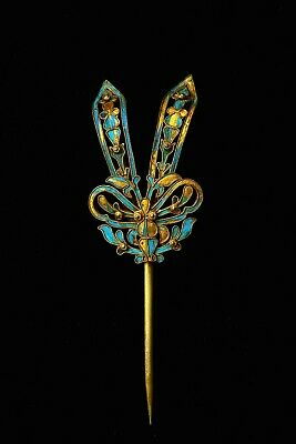 1900's Chinese Kingfisher Feather Gilt Hair Hat Pin Hairpin Butterfly