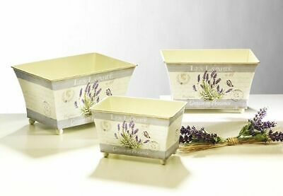 G2722: Decor Flower Metal with Lavender Motif, Country House Planters Set