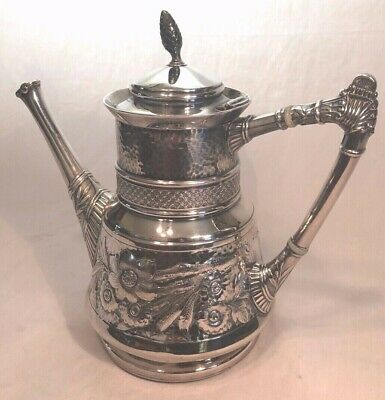 Antique Art Nouveau Victorian Quadruple Silver Plate US Coffee Pot Tea Pot