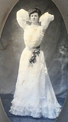 1900's Pretty Young Lady School Girl Nice Pose CABINET CARD PHOTO Bangor Maine