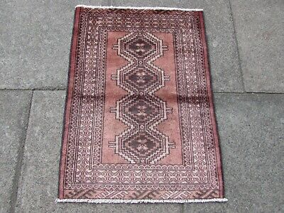 Vintage Traditional Hand Made Rug Oriental Wool Faded Pink Small Rug 85x62cm