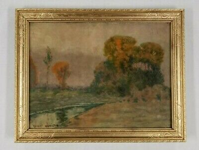 Robert Hamilton New York Antique Early Landscape Tonalism Plein Air Oil Painting