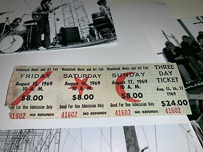 Woodstock 3 Day 1969 Original Tickets Jimi Hendrix Grateful Dead Janis Joplin Lx