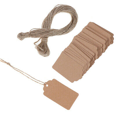 100Pcs Blank Kraft Jewelry Price Label String Price Tags With String  3C