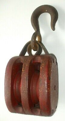 VINTAGE STYLE CAST IRON INDUSTRIAL PULLEY WELL BLOCK TACKLE FARM HOUSE DECOR