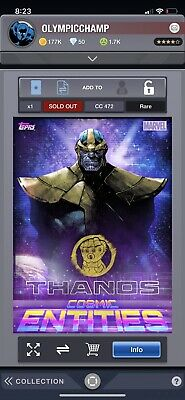 Topps Marvel Collect Card Trader Cosmic Entities Only Thanos Award 472cc Digital