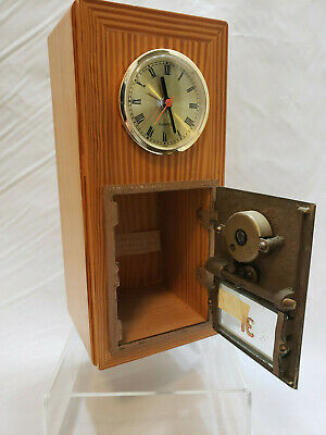 Vintage 1956 POST OFFICE Mail Box Brass Door/Glass Window Combination Lock Safe