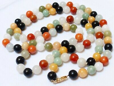 Chinese Vintage 14K Gold Multicolor  Jade Bead Necklace, 76 Grams