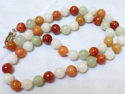 CHINESE VINTAGE MULTICOLOR  JADE 9mm BEAD NECKLACE, Silver Clasp