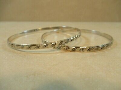 Sterling 925 Silver Set of Two Matching Bangle Bracelets Stacking Vintage 8""