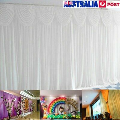 6*3 Wedding Party Stage Backdrop Swag Drape Sheer Satin Curtain Photo  AU