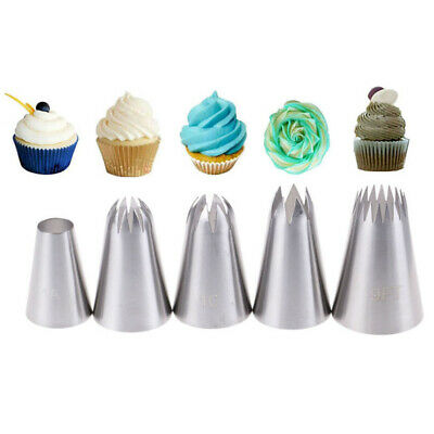 5pcs Large Russian Icing Piping Pastry Nozzle Tips Cake Decorating Tool Nozz JP