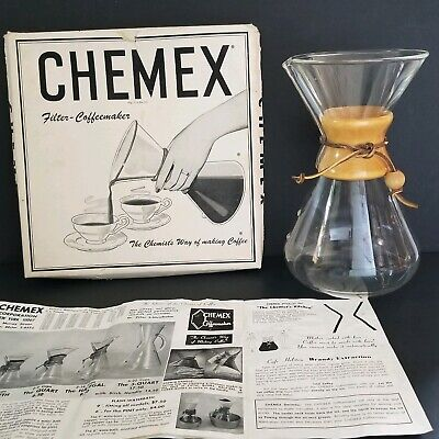 """Vintage Glass Pyrex Chemex Pour Over Coffee Maker 13 Cup Green Stamp 11"""""""