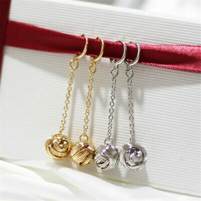 Long Knotted Hemp Rope Copper Ball Earrings Woman Fashion Real Gift charm Luxury