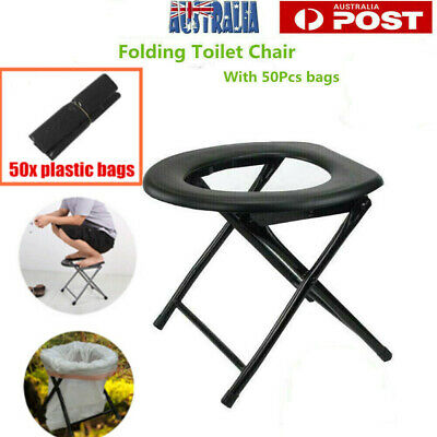 Portable Folding Toilet Chair Camping Travel Chair Outdoor Seat W 50x Bags AU