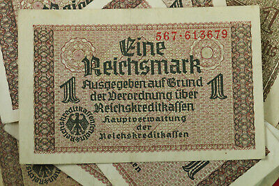 1 Reichsmark Nazi Germany Currency German Banknote Note Money Bill Swastika Ww2