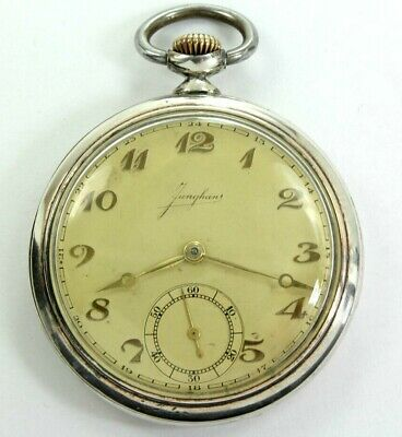 Antique Art Deco Junghans in Fine 900 Silver Case of Pocket Watch