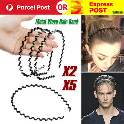 5pcs Fashion Men Women Girls Sports Metal Wave HOOP Headband Hair Band Unisex AU
