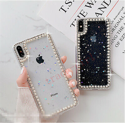 Girls Bling Glitter Diamond Pearl Crystal Clear Case Cover For Various Phones