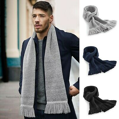 Beechfield Classic Knitted Scarf Men's Women's Tassel Winter Neck Scarves (B470)