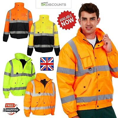 Mens Premium Quality Hi Vis Bomber Jacket Hi Viz Waterproof Safety Workwear Coat