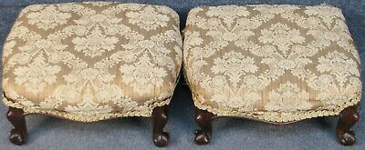 Pair Of Victorian Small Solid Mahogany Framed Foot Stools With Cabriole Legs