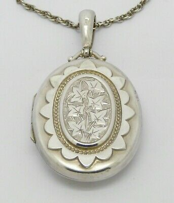 Beautiful Rare Large Victorian Solid Silver Locket & Chain Hm 1882 - Great Gift!