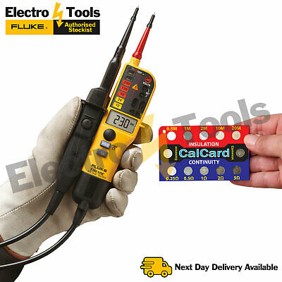 Fluke T150 Voltage & Continuity Electrical Tester With CalCard Calibration Card