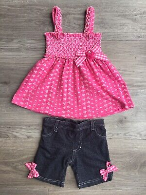 Toddler Girl Little Lass Pink Smocked Sleeveless Top & Denim Look Shorts. Age 3