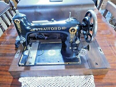 Early 20th Century STRATFORD Electric Sewing Machine with Wood Carrying Case