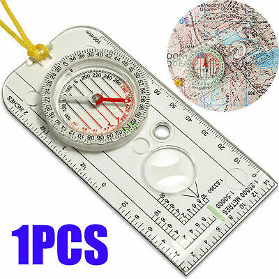 Outdoor Baseplate Ruler Map Scale Compass Scouts Camping Hiking Kit